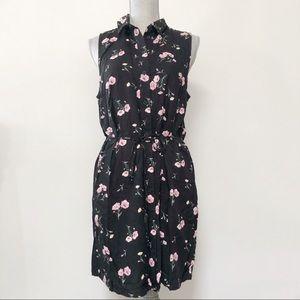 H&M button up floral sleeveless summer dress